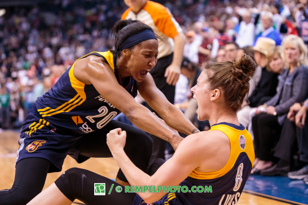 Indiana Fever guard Maggie Lucas (8) celebrates with guard Briann January (20)