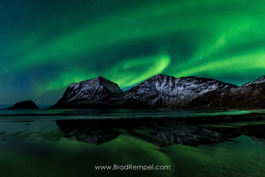 Haukland, Haukland Beach, Lofoten, Lofoten Islands, Mount Mannen, Mount Nonshammaren, Mountains, Northern Lights, Norway, reflection - Brad Rempel