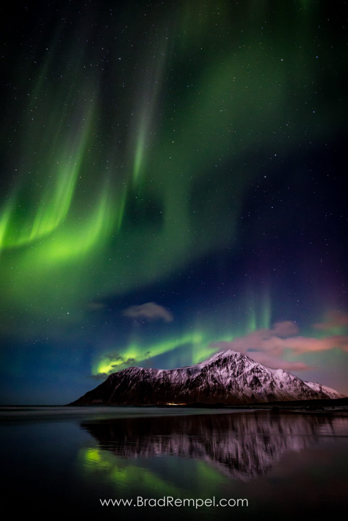 Flakstad, Lofoten, Lofoten Islands, Mount Hustind, Northern Lights, Norway, reflection, Skagsanden Beach, - Brad Rempel