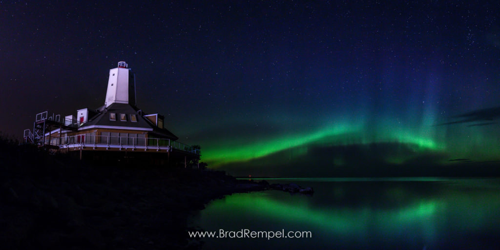 Gimli Lighthouse and the Northern Lights, Manitoba - Brad Rempel