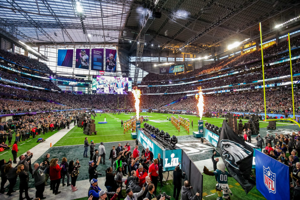 Feb 4, 2018; Minneapolis, MN, USA; The Philadelphia Eagles take the field before Super Bowl LII against the New England Patriots at U.S. Bank Stadium. Mandatory Credit: Brad Rempel-USA TODAY Sports