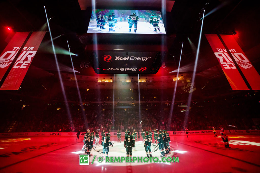 Oct 6, 2018; Saint Paul, MN, USA; Minnesota Wild players are introduced before the game against Las Vegas Golden Knights at Xcel Energy Center. Mandatory Credit: Brad Rempel-USA TODAY Sports