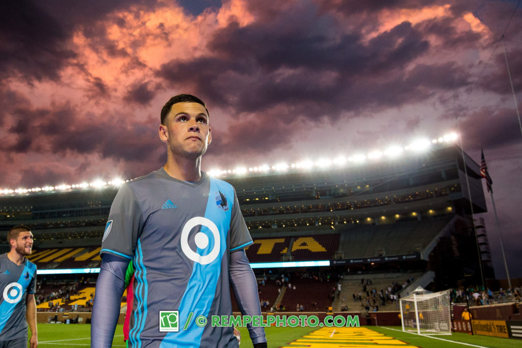 Jul 19, 2017; Minneapolis, MN, USA; Minnesota United forward Christian Ramirez (21) leaves the pitch after the game against the Houston Dynamo at TCF Bank Stadium. Mandatory Credit: Brad Rempel-USA TODAY Sports