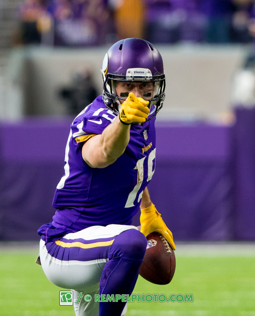Nov 19, 2017; Minneapolis, MN, USA; Minnesota Vikings wide receiver Adam Thielen (19) celebrates his first down in the first quarter against the Los Angeles Rams at U.S. Bank Stadium. Mandatory Credit: Brad Rempel-USA TODAY Sports